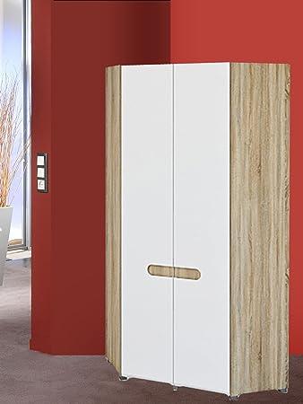 Eckkleiderschrank weiß hochglanz  Eckkleiderschrank Garderobeneckschrank 2-türig 6536 sonoma eiche ...