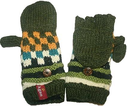 b5724ed23d7 1402 G Agan Traders Wool Fleece Mitten Nepal (Folding G - Green) at Amazon  Women s Clothing store
