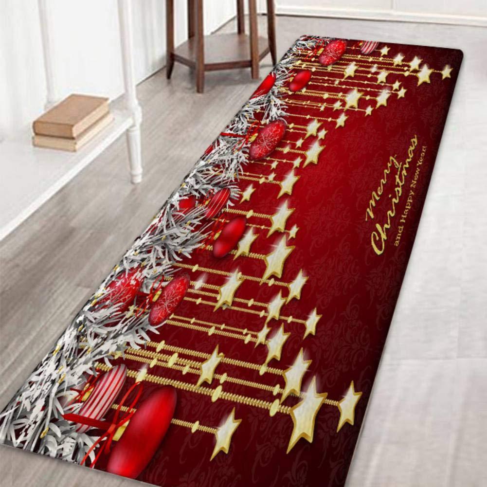 Area Rug Non-Slip Door Mat Christmas Patterned Carpet Floor Mat for Living Room Bedroom Hallway Kitchen,Santa & Reindeer Wingbind