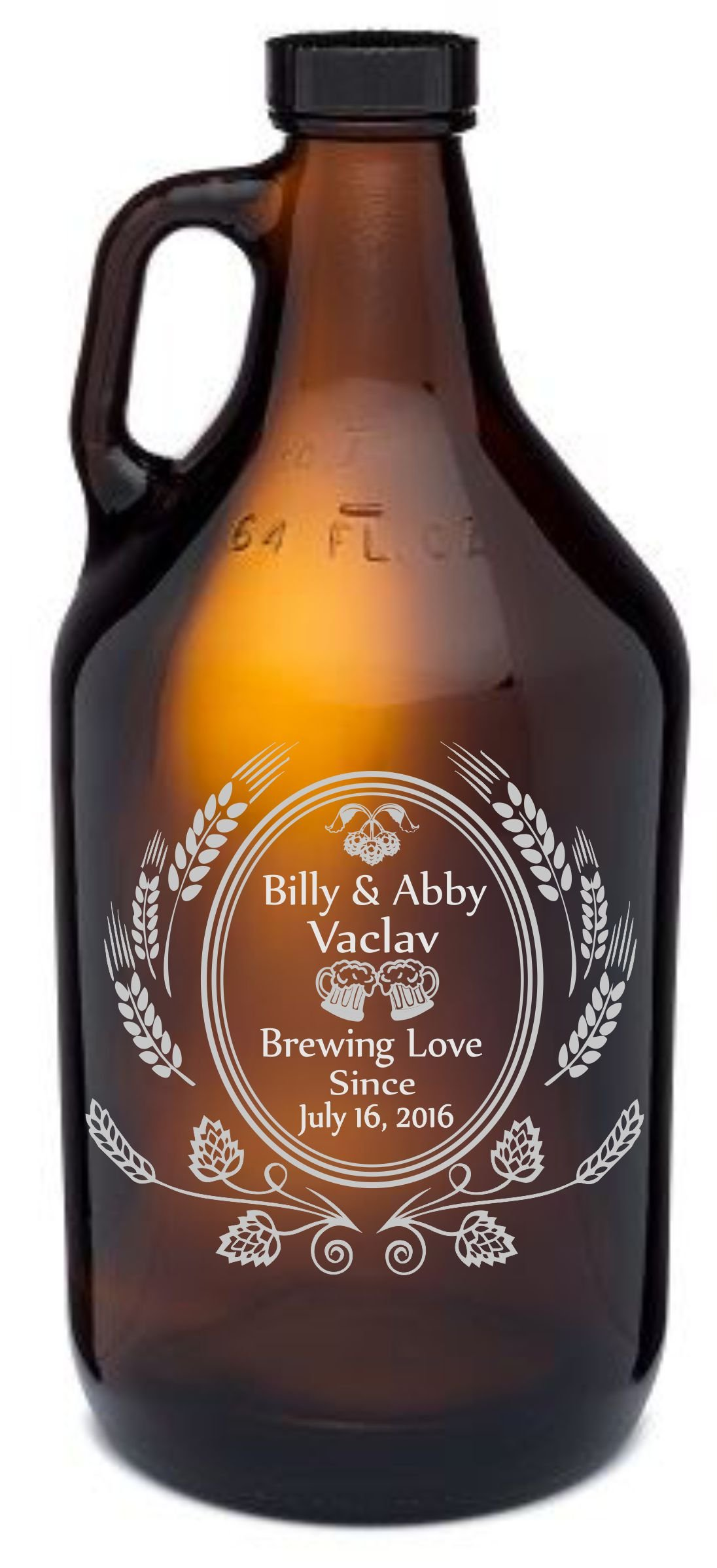 Personalized Engraved Wedding Themed ''Brewing Love'' Growler Wedding Gift | Custom Beer Wedding Gift