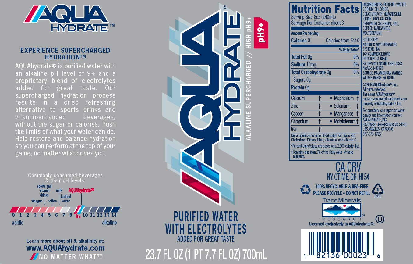 AQUAhydrate Electrolyte Enhanced Water Ph9+, 23.67  Fl. Oz (Pack of 12) by AQUAhydrate (Image #2)