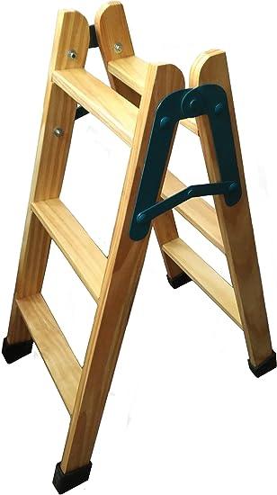 Escalera de madera con tacos antideslizantes (3 Peldaños): Amazon.es: Bricolaje y herramientas