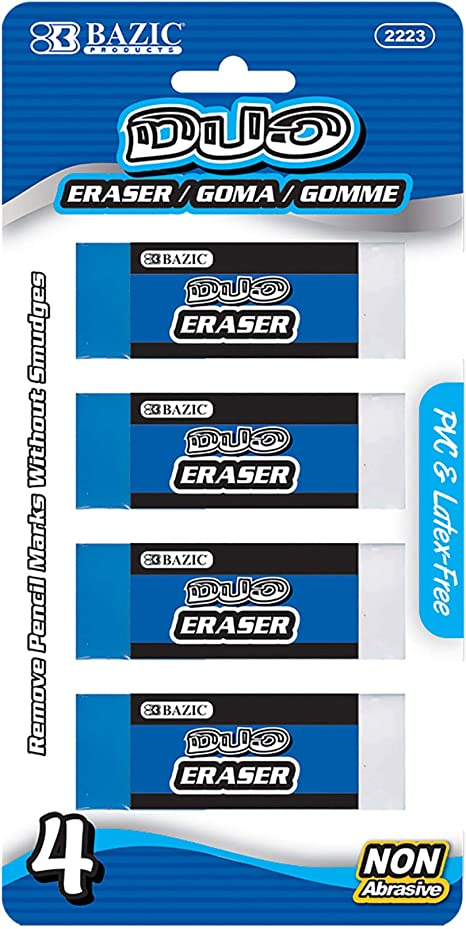 BAZIC Jumbo Vinyl Eraser 4//Pack