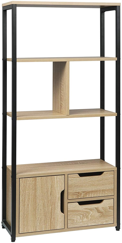 Dark Beech Corner Bookcase Wooden for Living Room,Office,Bedroom,Bathroom 3 Book Shelves Display Storage Rack Standing Shelf Unit with 3 Drawer WOLTU Bookcase Home Office Furniture