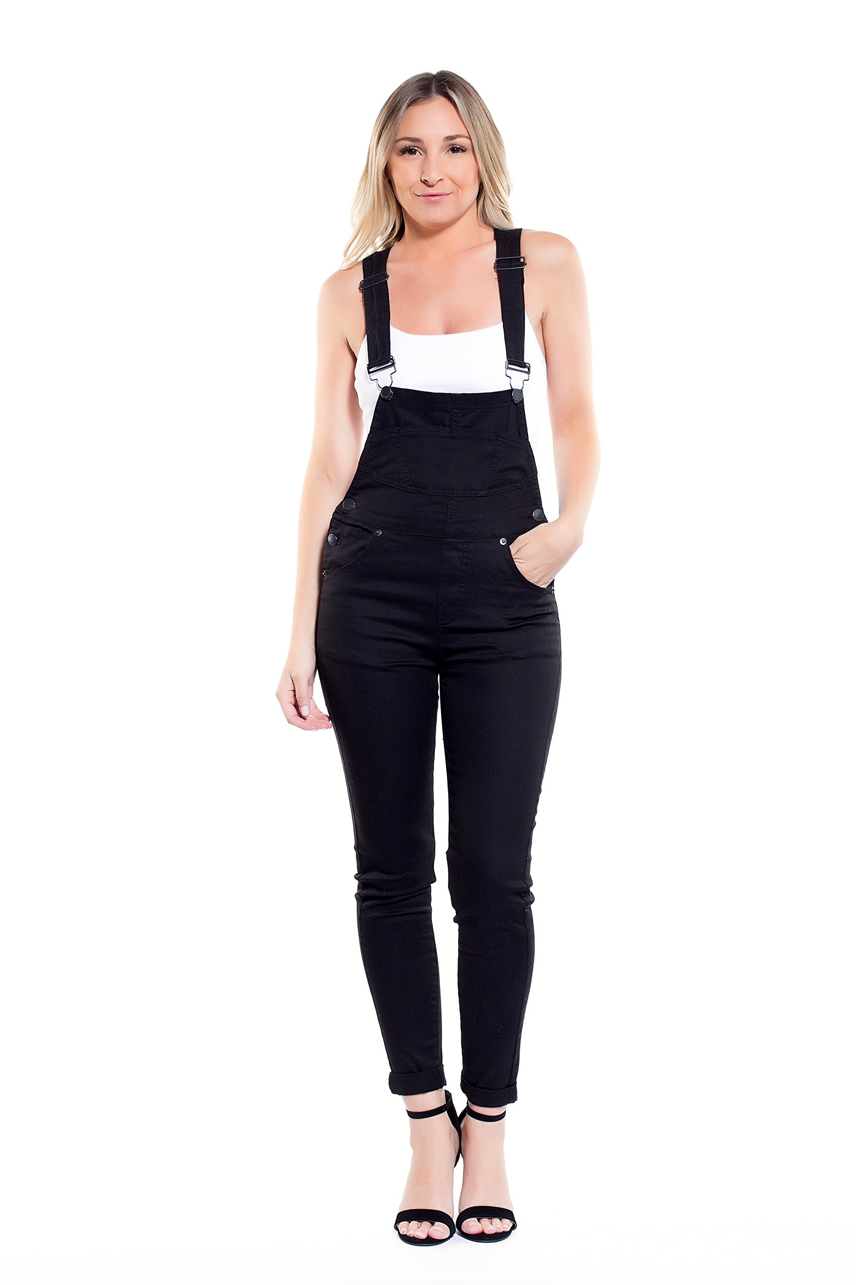 Instar Mode Women's Classic Casual Overalls Jumpsuits in Various Styles (RL30814 Black, Medium)