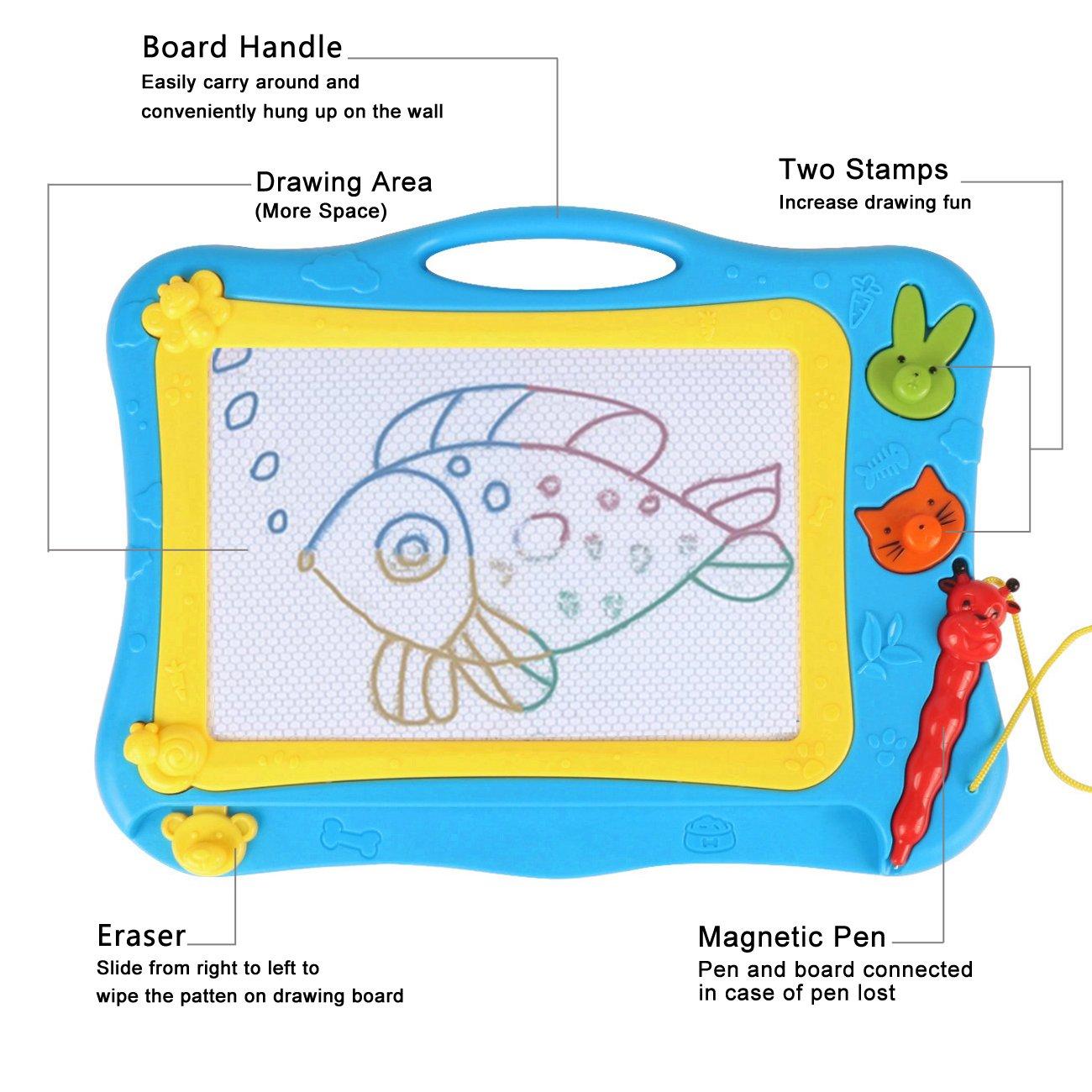 DUTISON Pizarra Magnética Colorido Almohadilla Borrable de Escritura y Dibujo con Pluma para Niños Portátil Tamaño 31 x 21.5 cm (Azul 001): Amazon.es: ...