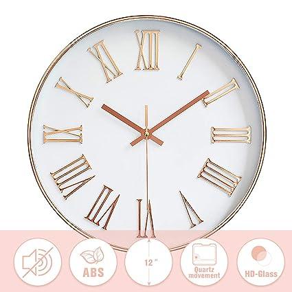 Jeteven 12 Pulgadas Reloj de Pared Moderno Reloj de Oro Rosa sin Tictac Silencioso Cuarzo Romano