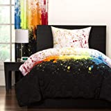 Crayola Crayon Paint Splash 3-piece Comforter Set Queen Kids & Teens, Abstract Graphic Paint Splat Pattern Reversible Bedding, Green Orange Purple Red White Black, Rainbow Colorful and Fun!