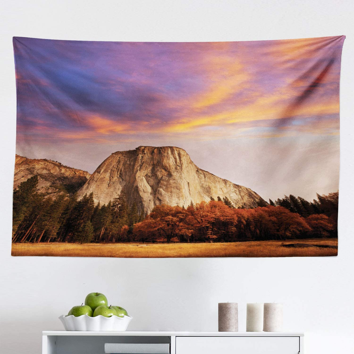 """Lunarable Yosemite Tapestry, Sunset Colorful Clouds Over El Capitan and Autumn Forest Wilderness Nature Theme, Fabric Wall Hanging Decor for Bedroom Living Room Dorm, 45"""" X 30"""", Orange Brown"""