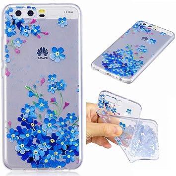 Funda Huawei P10 silicona transparente Ultra-fino TPU suave Carcasa Bumper DECHYI Patrón arte-fiore della stella