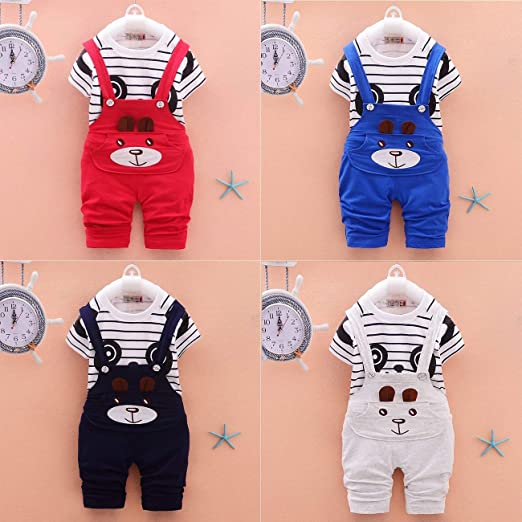 7ee7b189b Image Unavailable. Image not available for. Color: Kids Sports Suit Soft  Cotton Striped Print Cartoon Panda Baby Short Sleeved ...