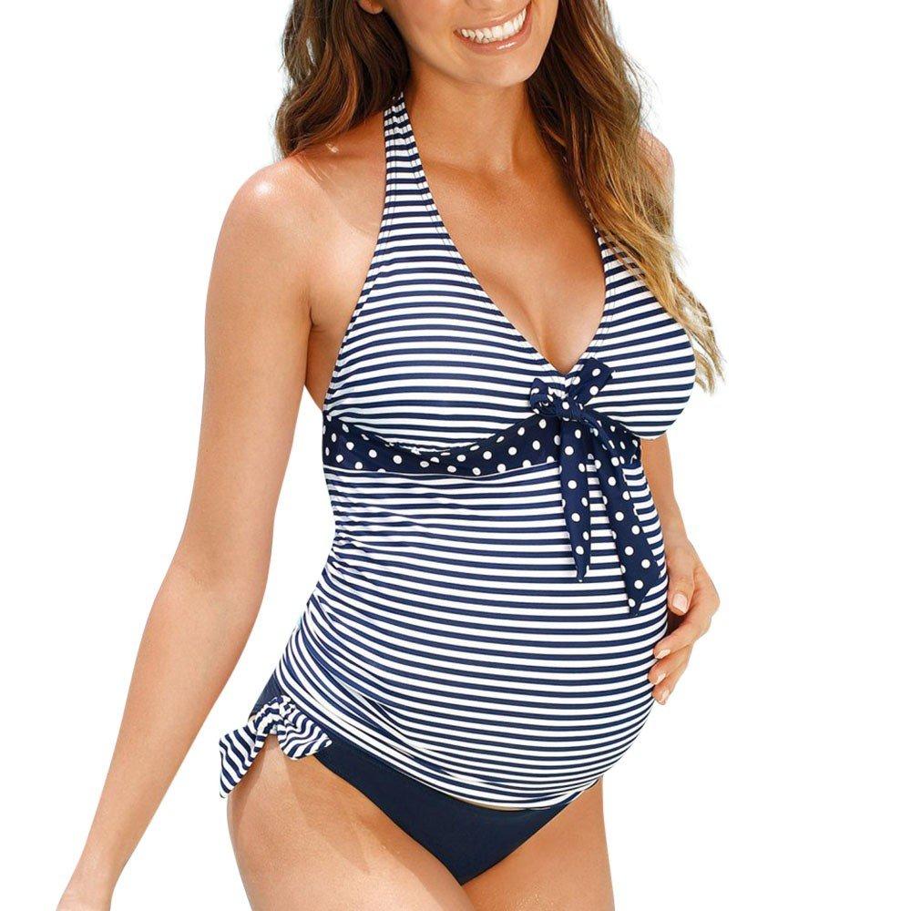 b9c54bed6e81c Amazon.com: iLUGU Maternity Tankinis Women Dot Print One Piece Bikini Set  Swimsuit Beachwear Pregnant Suit Bathing Suit Beachwear: Clothing