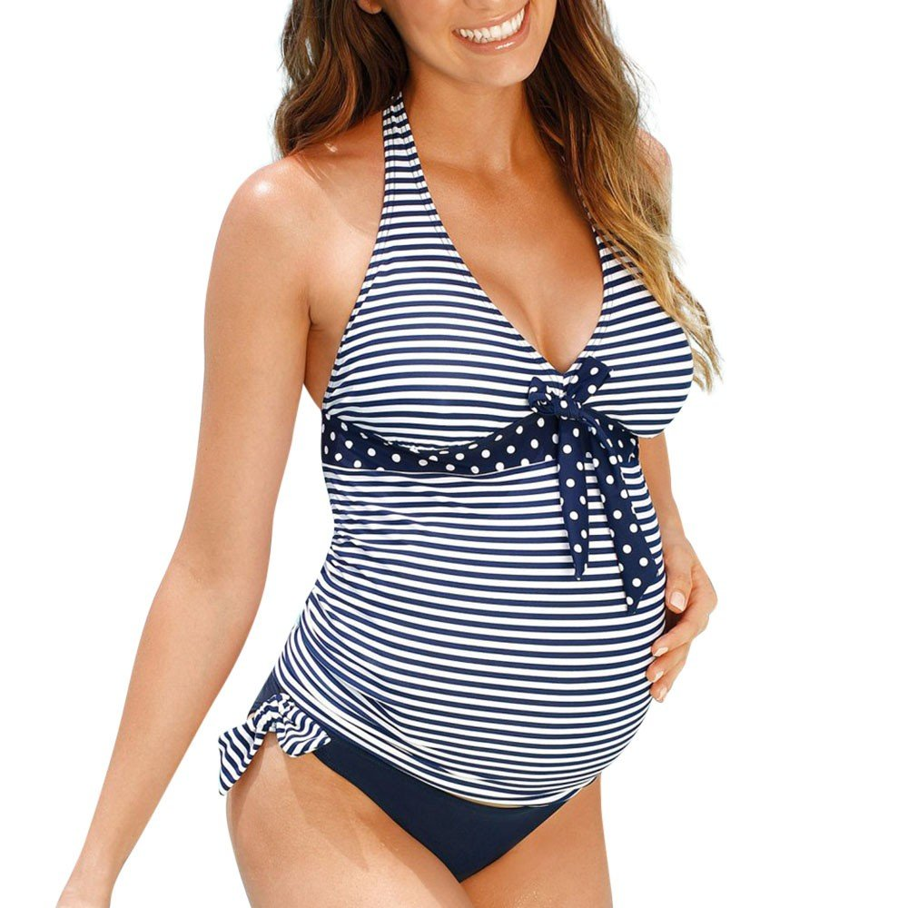 Huifa Maternity Stripe Print Tankinis Swimwear Pregnant Women Unique Beachwear Suit (Blue,L)