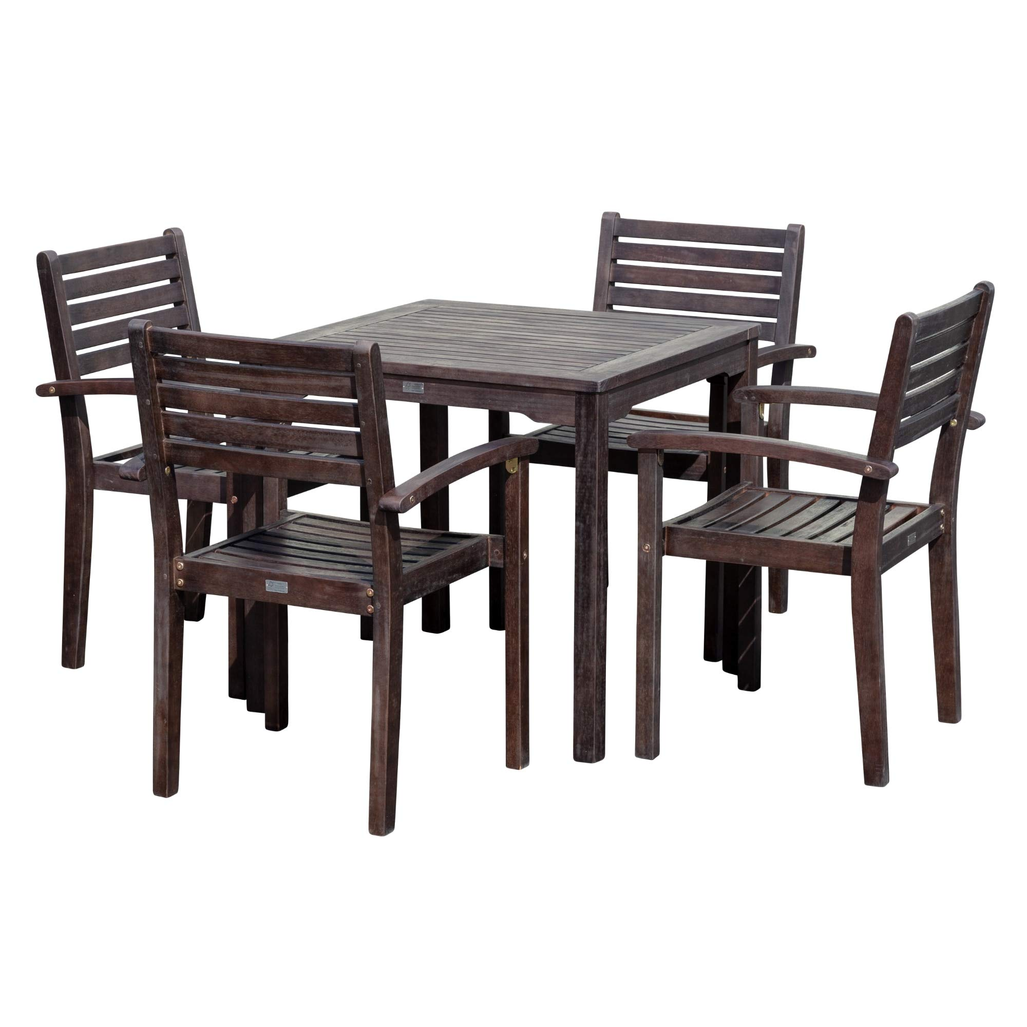 DTY Outdoor Living Leadville Square Dining Set, 5-Piece Eucalyptus Patio Furniture Set with Table and 4 Stacking Chairs, Espresso Finish