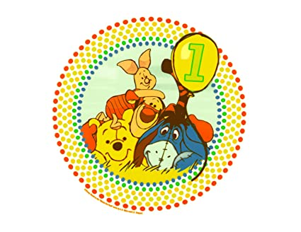 Image Unavailable Not Available For Color Winnie The Pooh Happy 1st Birthday Edible Icing Cake Topper