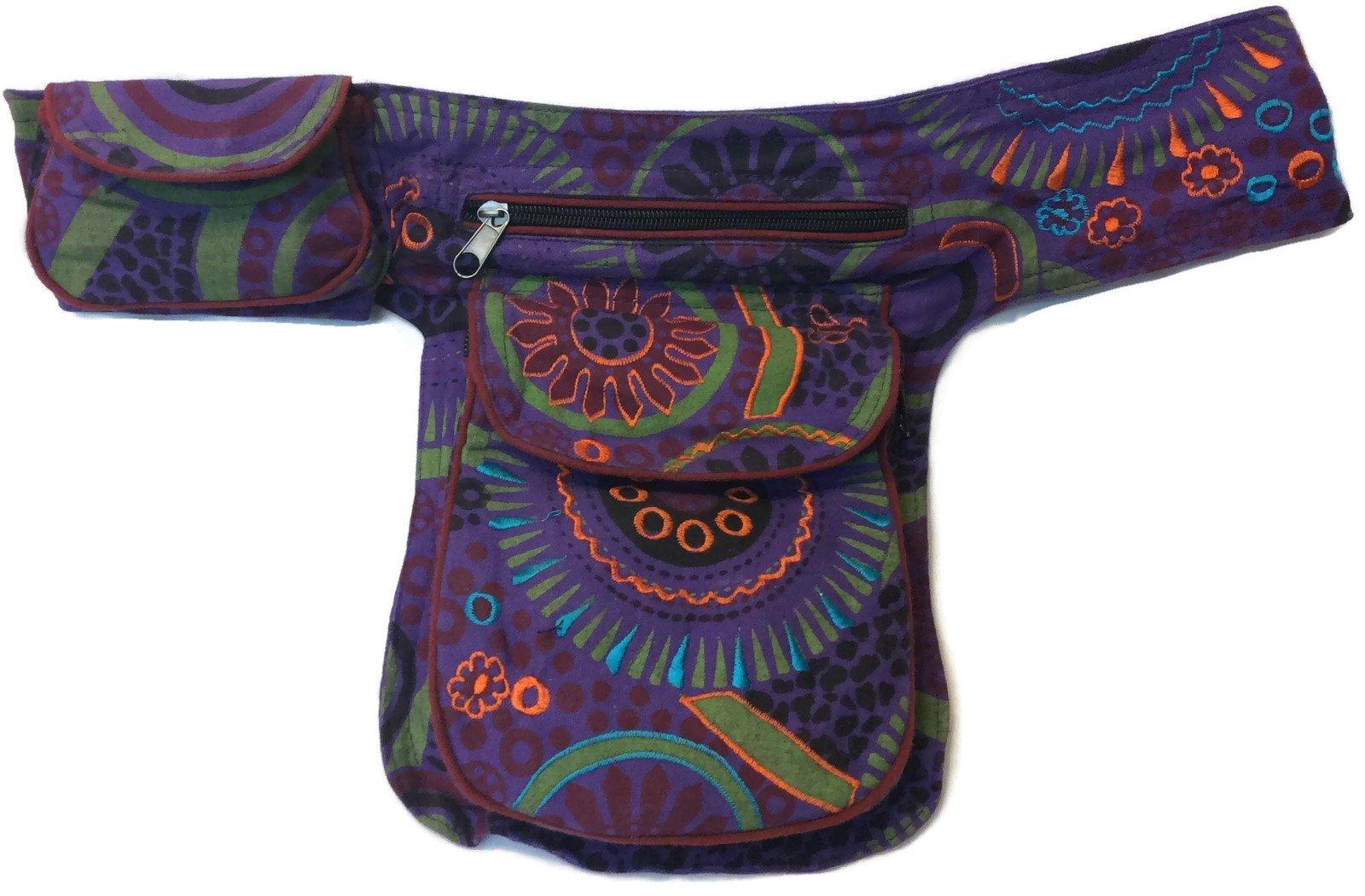 Boho Fanny Waist Pack Money Belt Purple Multi-Color Hip Bag Travel Bum Drop Leg Pouch Cotton NEPAL