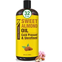 Pure Cold Pressed Sweet Almond Oil - Big 32 fl oz Bottle - Unrefined & 100% Natural - For Skin & Hair, with No Added…
