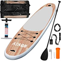 Happybuy 10 FT Inflatable Stand Up Paddle Board 4 in Thicker w/Adjustable Paddle Safety Leash Hand Pump 3 Bottom Fins Storage Bag for Paddling Surf Control Non-Slip Deck