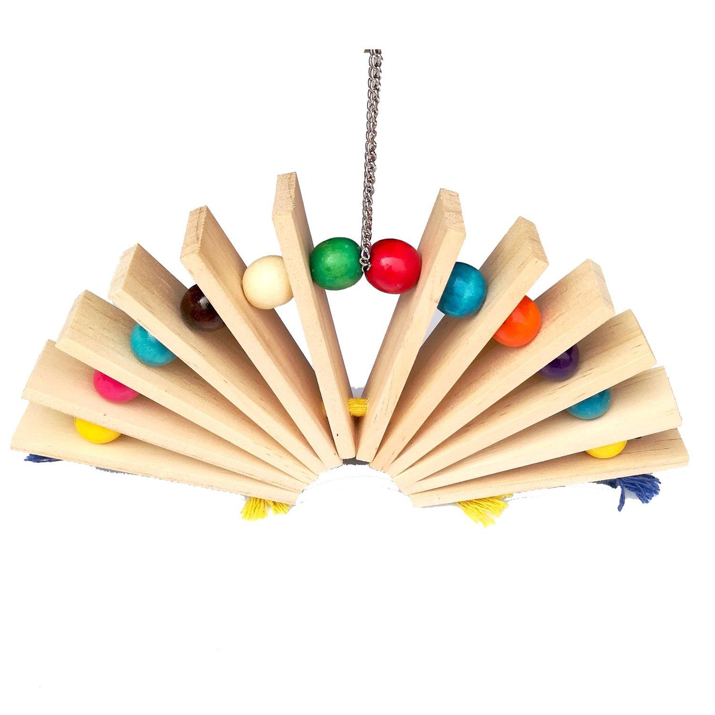 Uccello giocattolo da masticare, colorato in legno durevole blocchi appesi Bead String Bite grande medio e piccolo Pet Bird Stand Rack Play Toy Parrot Forniture 2Color