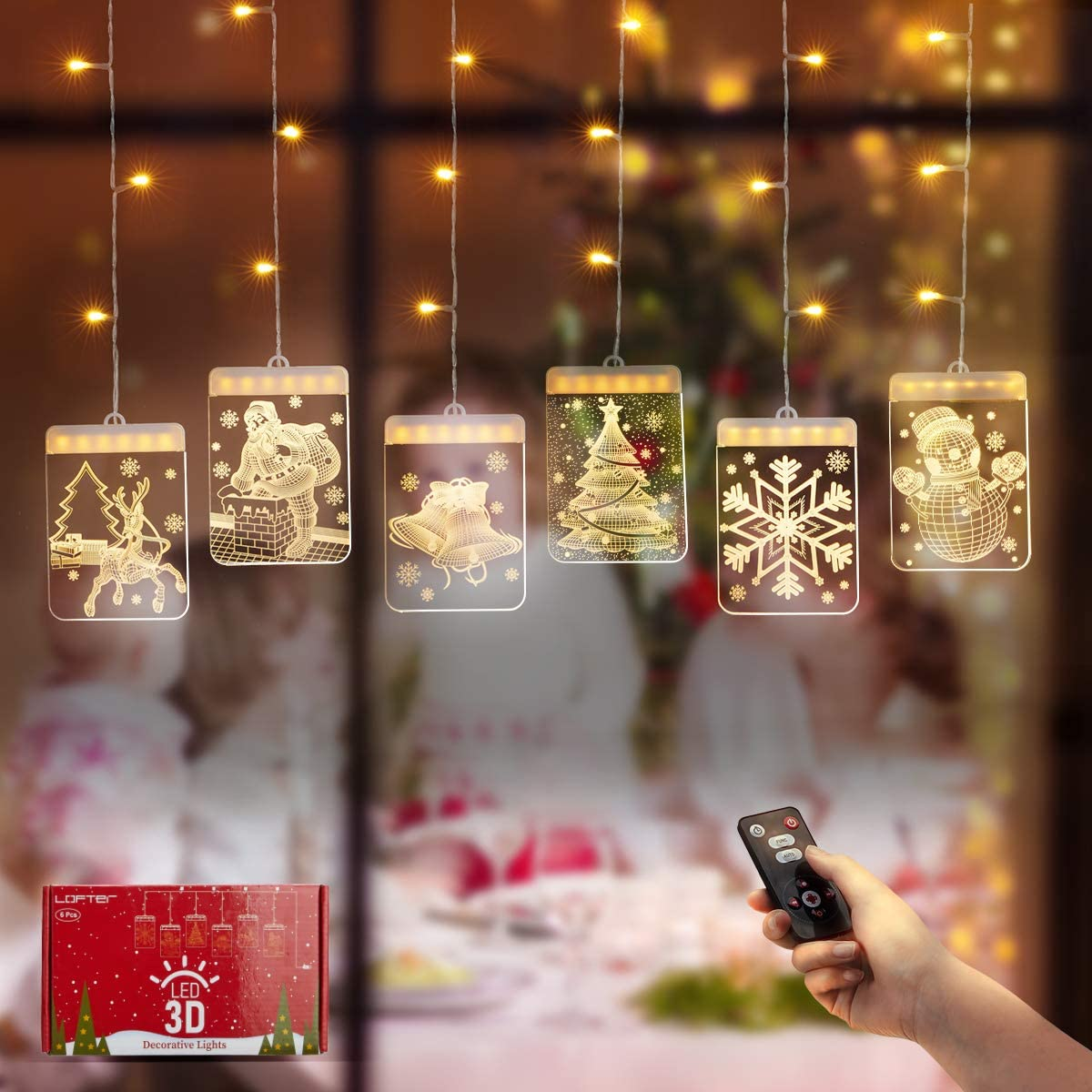 Christmas Decoration LED String Lights, Dimmable Creative 3D Twinkle Hanging Lights with Timer/5 Modes/USB Plug,Warm White Remote Control Curtain Lights for Holiday Window/Fireplace/Wall/Bedroom Decor