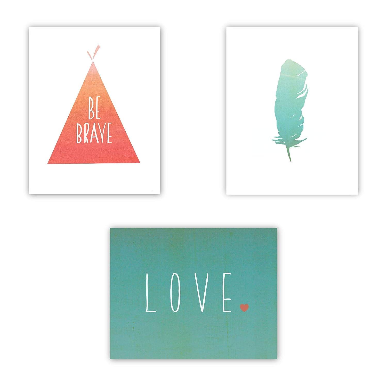 Be Brave Collection (Set of Three 11x14 Wall Art Prints), Nursery Decor, Kid's Room Decor, Gender Neutral Nursery Decor, Baby Room, Playroom Decor, Nursery Rhyme Kid's Wall Art, Playroom Wall Art