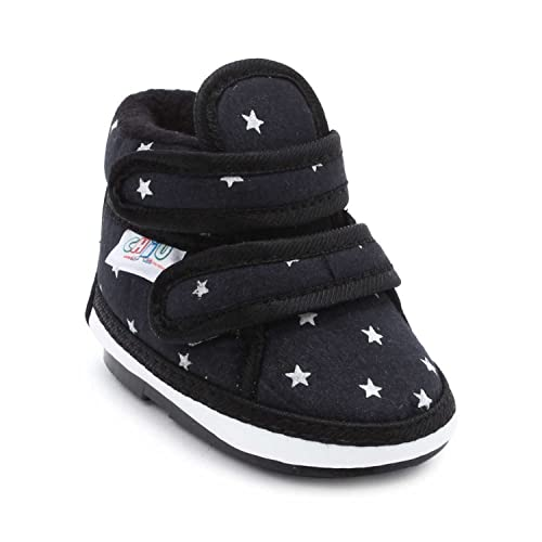 99668414f1 CHiU Unisex Kid s Chu Booties with Velcro for 9-12 Months Black Boat Shoes-