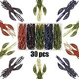 XFISHMAN Crawfish-Lures-Bass-Fishing-Jig-Trailers-Soft Plastic 25/30 pk Shrimp Creature Crawdad Baits Kit 2 Huge…