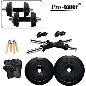 72a7cdf044d Buy Protoner 20kg Adjustable Dumbbells with Gloves and Hand Gripper Online  at Low Prices in India - Amazon.in