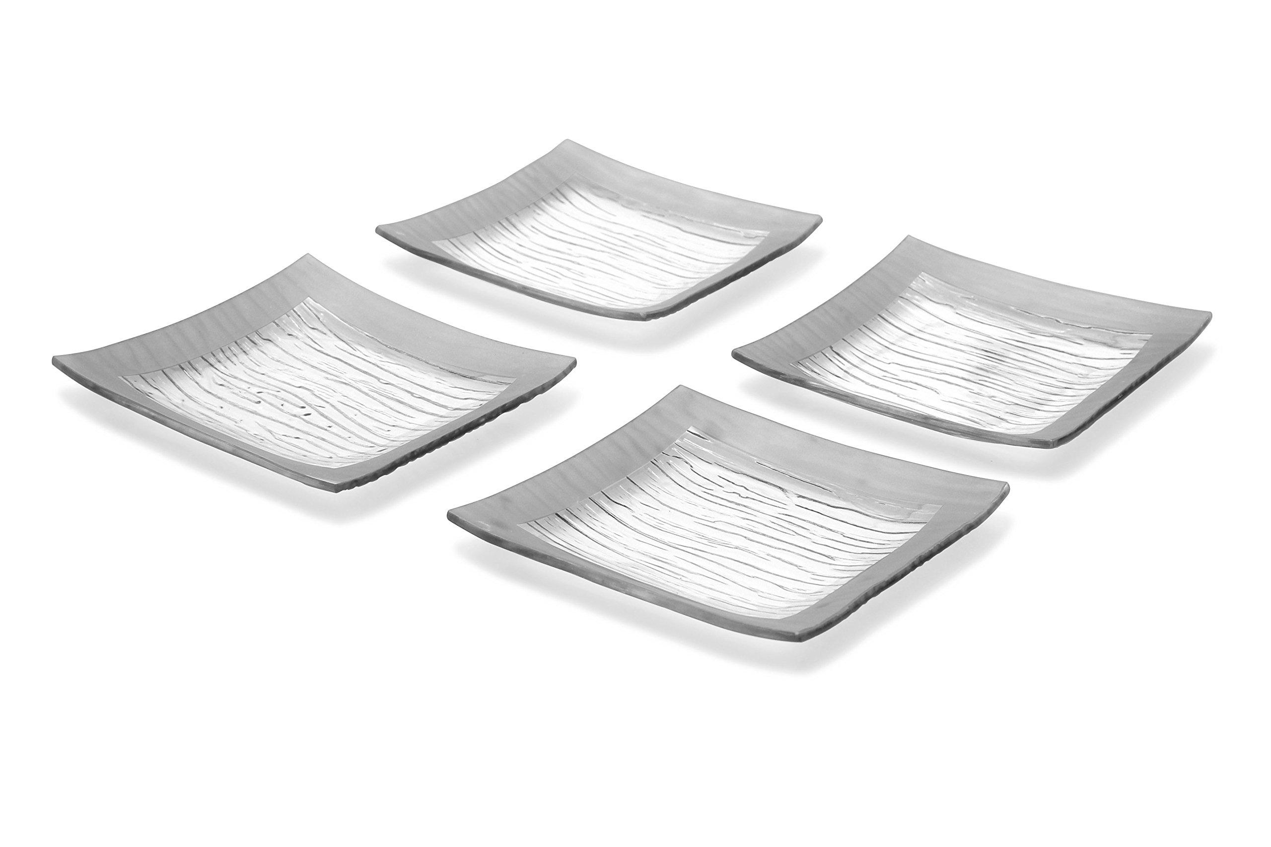 GAC Elegant Designed Square Tempered Glass Dessert Plates Set of 4 – Break and Chip Resistant - Oven Proof - Microwave Safe - Dishwasher Safe 6 Inch by GAC (Image #2)
