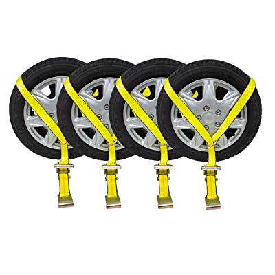 "Mytee Products (4 Pack) 2"" x10' Lasso Ratchet Strap Flat Hook Wheel Net Auto Tow Towing Tie Down: Automotive"