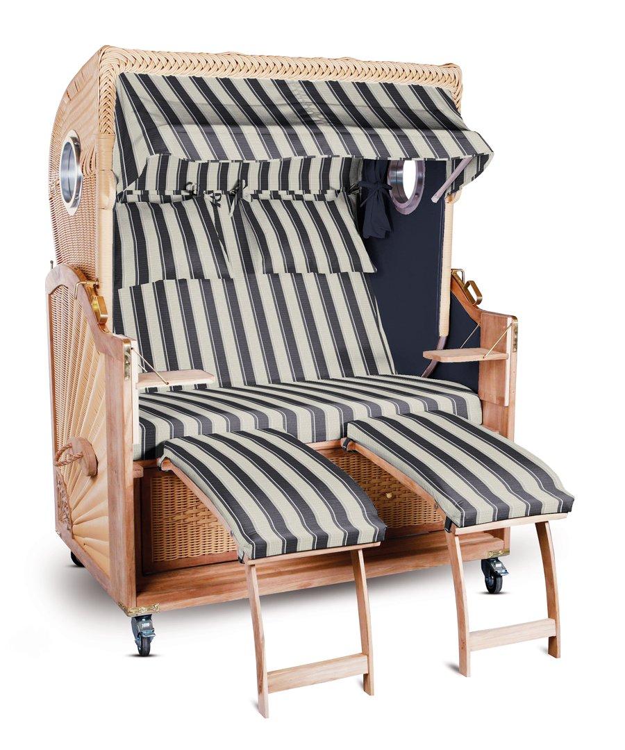 strandkorb kampen spezial 2 sitzer grau wei gestreift seiten grau mit bullauge jetzt bestellen. Black Bedroom Furniture Sets. Home Design Ideas