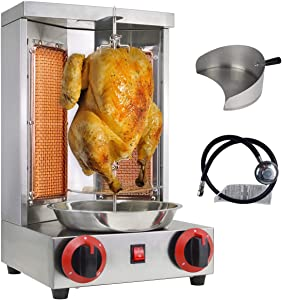 NJTFHU Shawarma Grill Doner Kebab Machine Gyro Grill Home Vertical Rotisserie with 2 Burner 110V stainless steel for Chicken Roast,Tacos,Roast,Beef