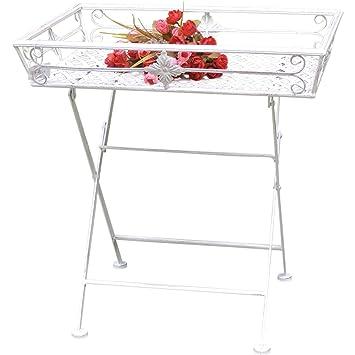 Tabletttisch Garten.Tabletttisch Beistelltisch Garten Tisch Mit Füßen Shabby Chic Metall Weiß Klappbar