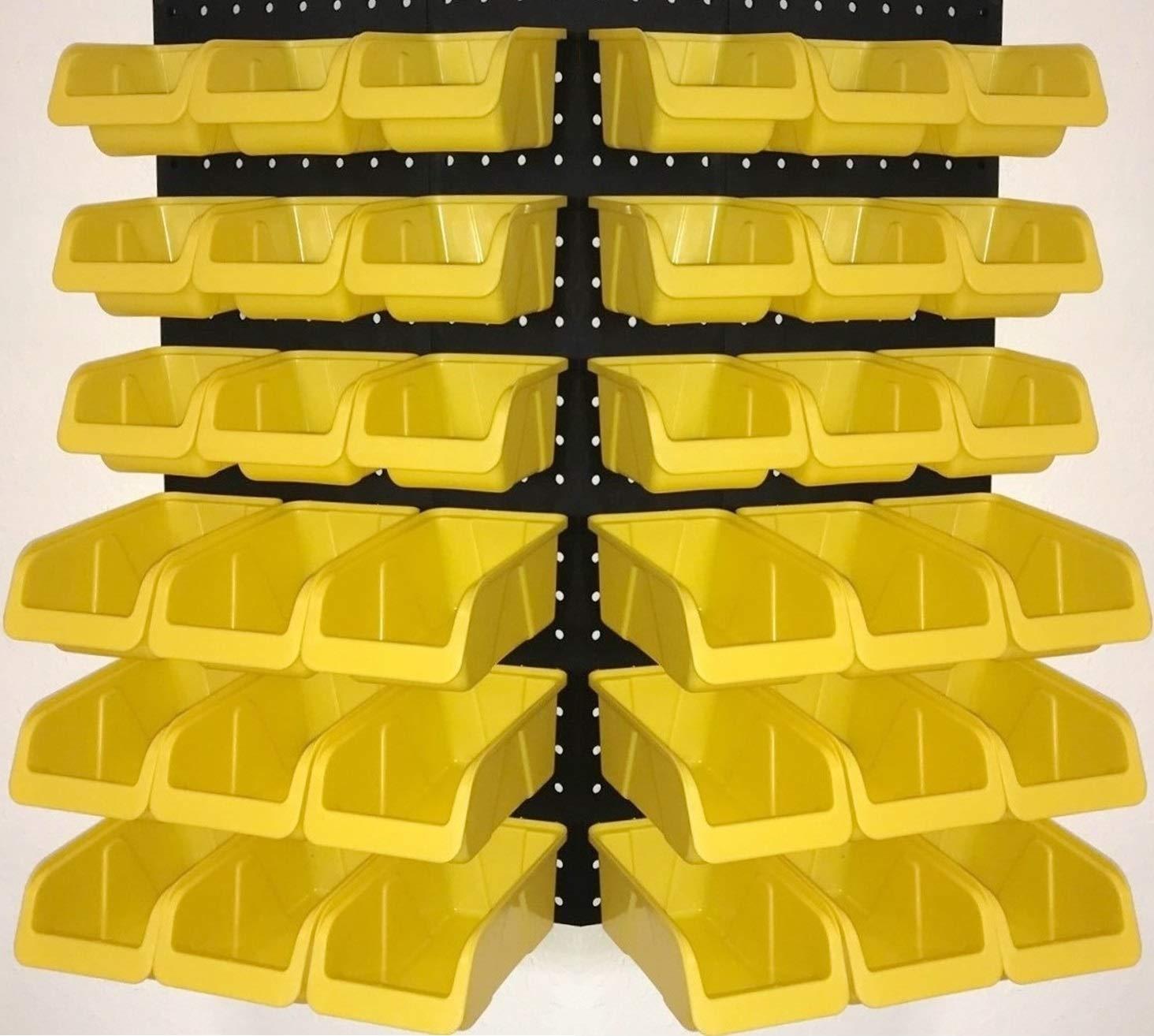 WallPeg 36 Pegboard Bins Part Bin Kit Hooks to Peg Board Panels Workbench Organizer Larger Size Bins by USA PEG