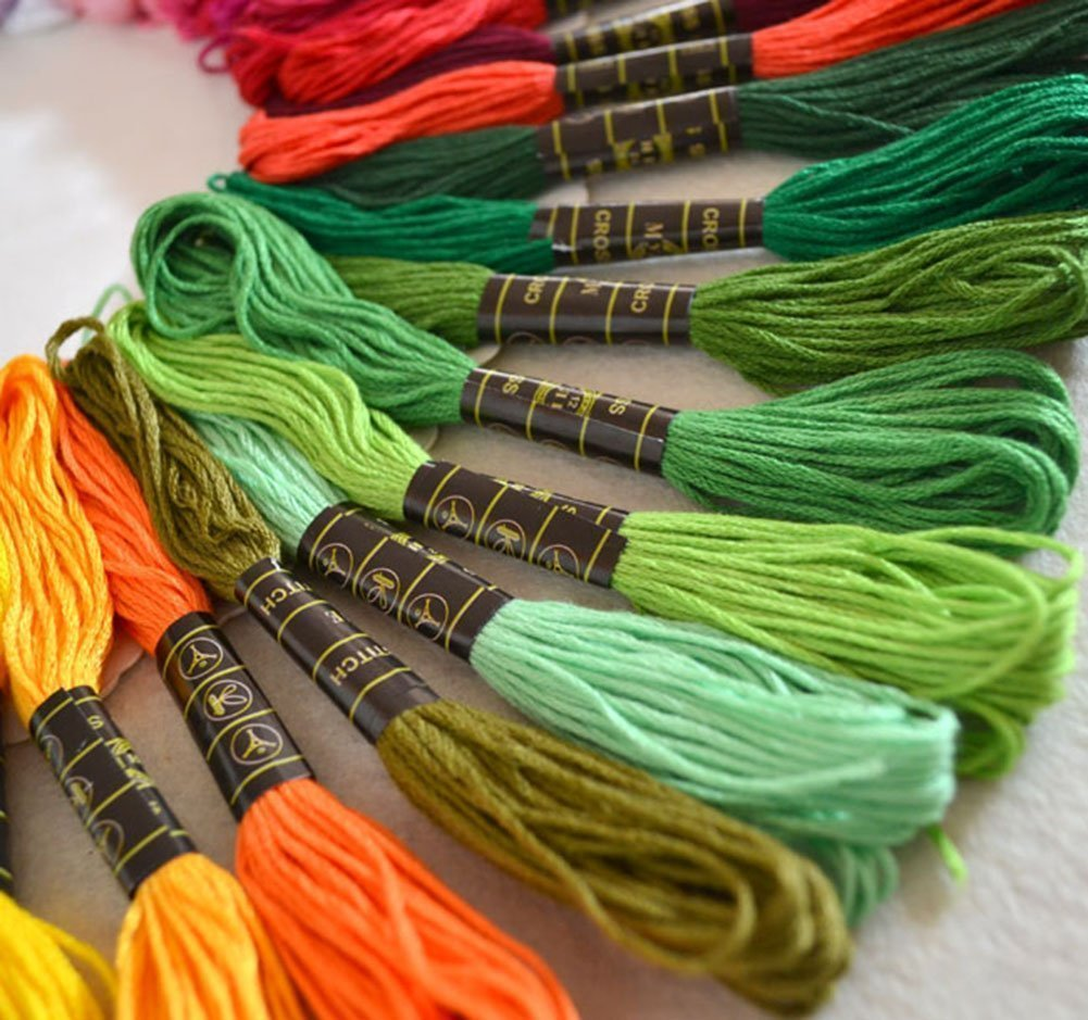 Embroidery Floss Kit,50 Assorted Rainbow Colors Polyester Sewing Skeins Line Cross Stitch Thread Friendship Bracelets String Art Crafts