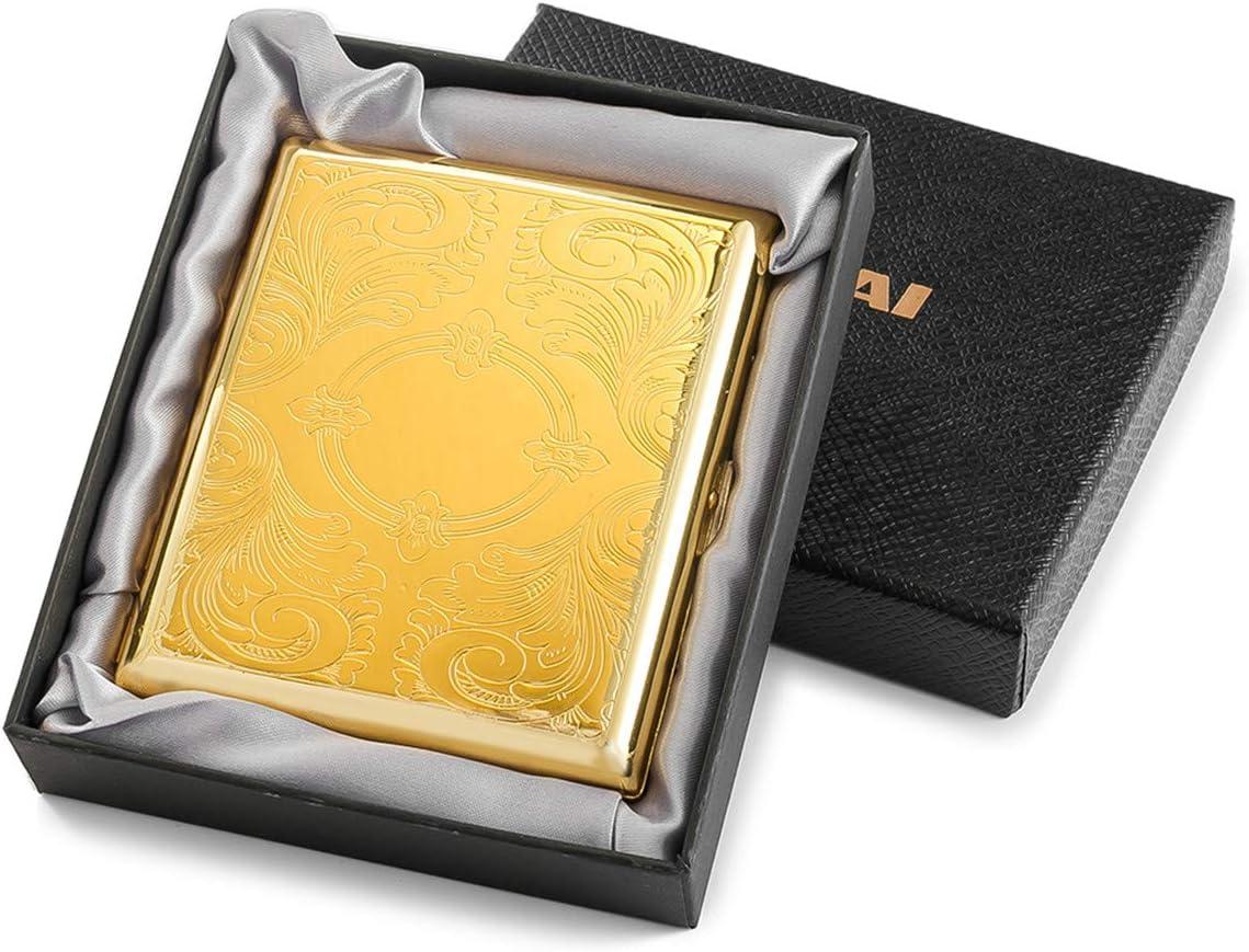Aspecto Elegante Pitillera de Metal de Color Dorado para 20 Cigarrillos con Grabado de Acero Inoxidable Antiguo