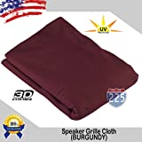"""Burgundy Stereo Speaker Grill Cloth Fabric 36"""" x 66"""" (1 linear yard) - UV Treated Strech Material 3D US Grille Cloth"""