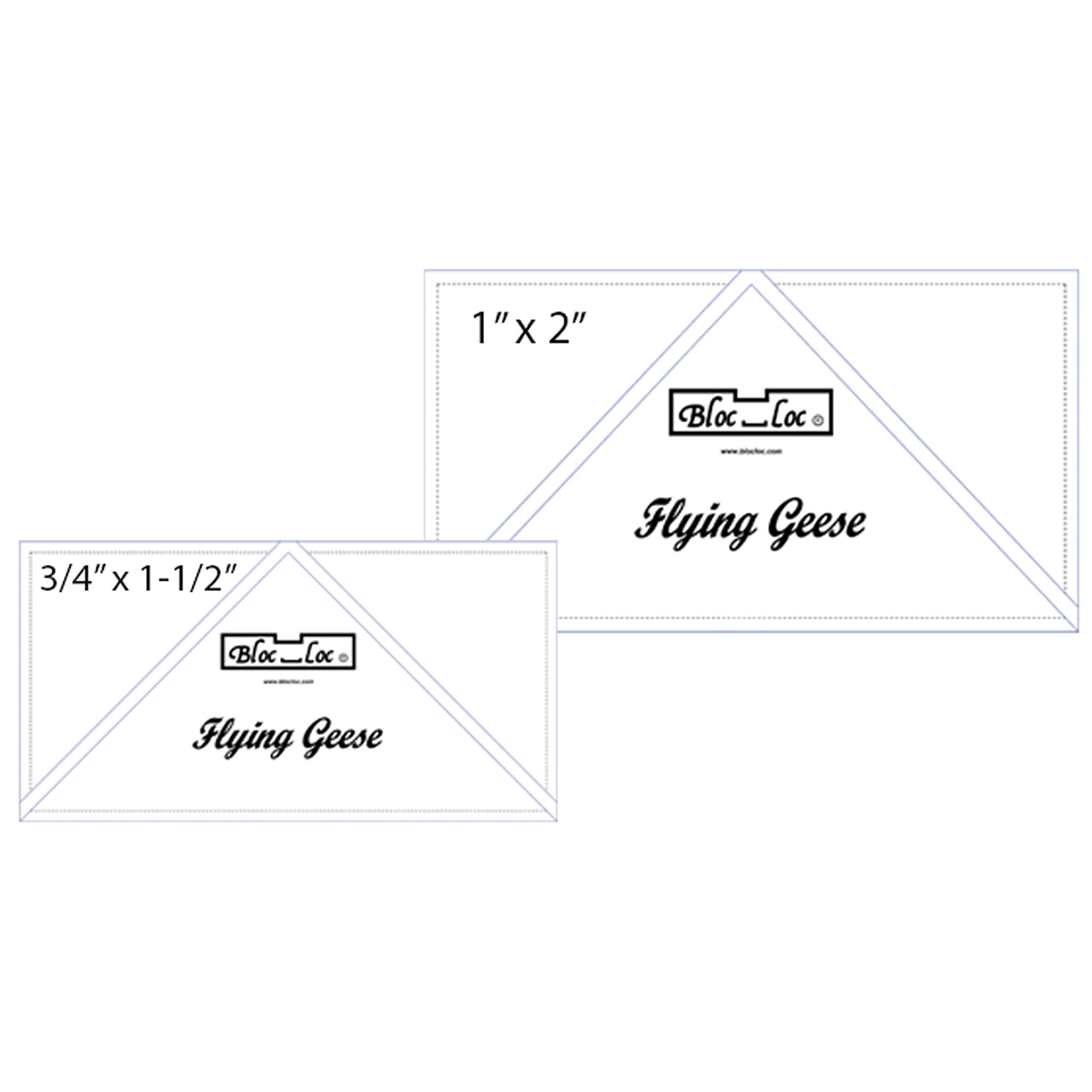 Bloc Loc 0.75'' x 1.5'' & 1'' x 2'' Flying Geese Square Up Rulers Set #4 by Bloc Loc