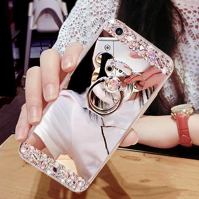 Étui Huawei Honor 5A,Coque protecteur Huawei Honor 5A,Charmant romantique Ours motif Housse Huawei Honor 5A, ETSUE [Étui miroir Diamant en cristal brillant Bling Glitter] Huawei Honor 5A Slicone Coque en caoutch