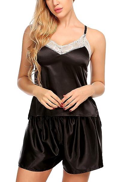 Satin Pajamas Lace Camisole Short Sets Strap Sleepwear Romper Teddy  Nightwear Dresses Lingerie Women s(Black 856432014