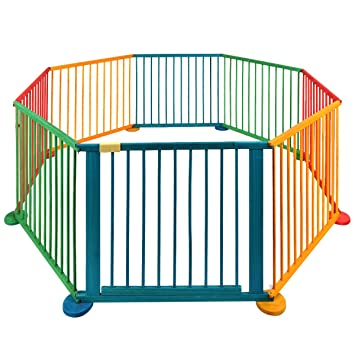 Cravog Child Baby Children Wooden Playpen Play Pen Room Divider Heavy Duty  Colourful UK (8