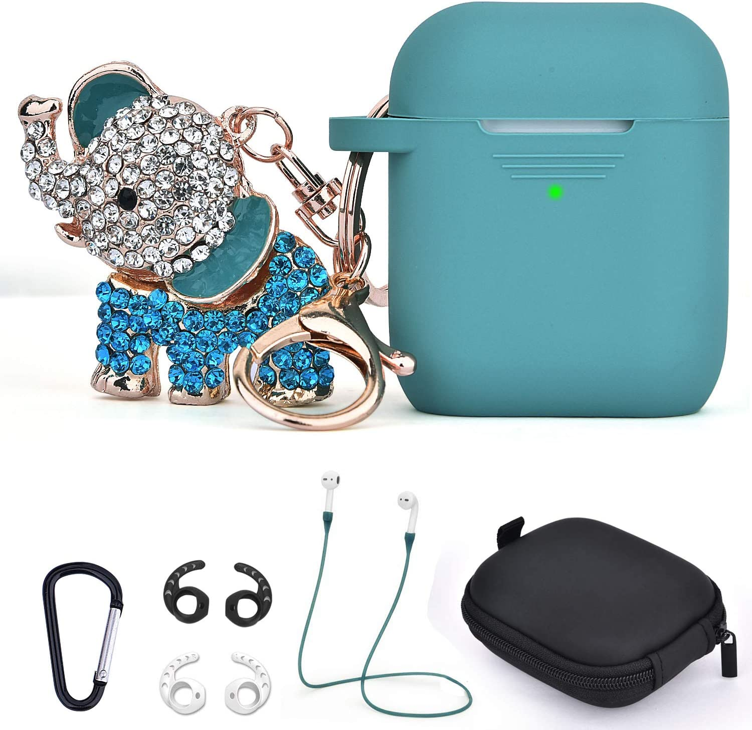 Airpods 1/2 Case Keychain,TOROTOP 7 in 1 Cute Silicone Protective Airpod Cases Cover Accessorie with Bling Elephant Keychain/Strap/Ear Hook/Storage Box Compatible for Apple Airpod 2&1