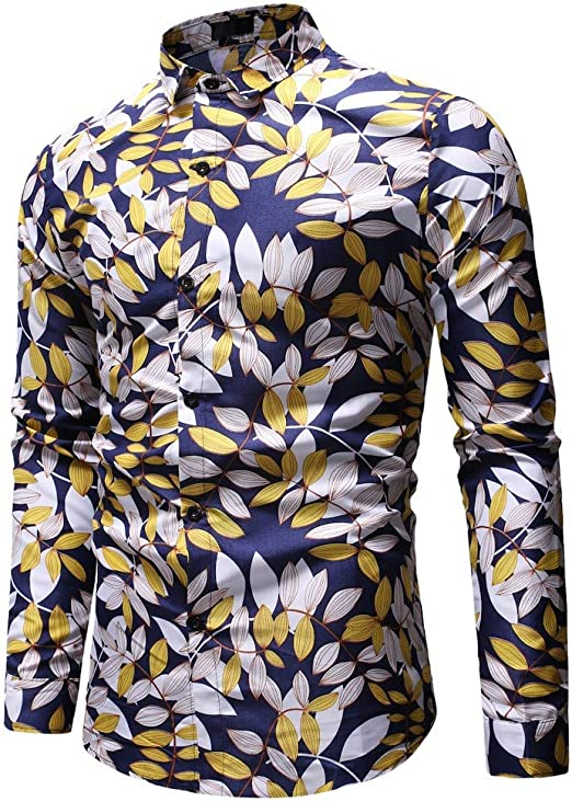 Mr.Macy Summer Casual Fashion Mens 3D Color Print Trend Color Short-Sleeved Shirt Blouse