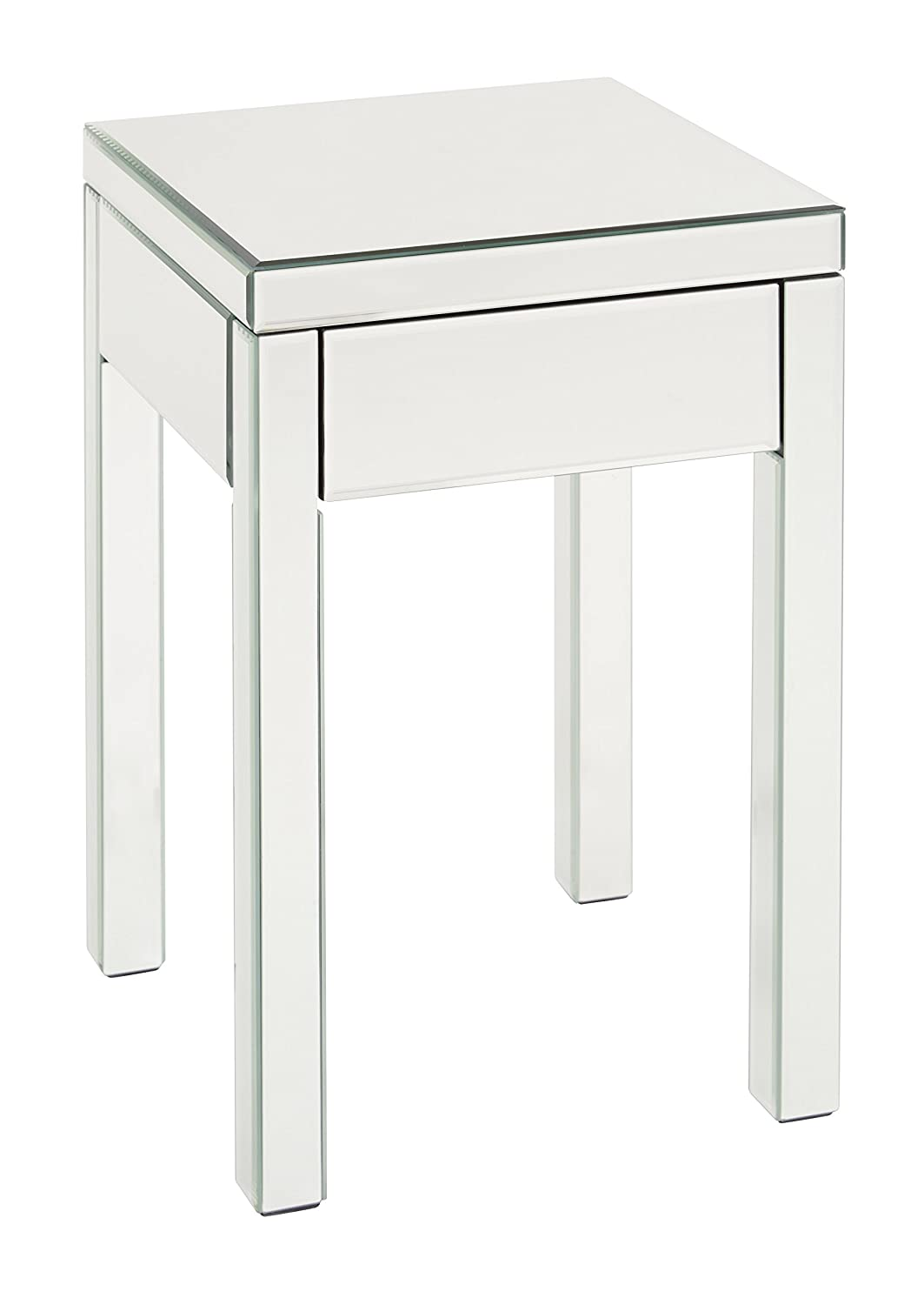 AVE SIX Reflections End Table with Drawer, Silver Mirrored Finish REF09-SLV