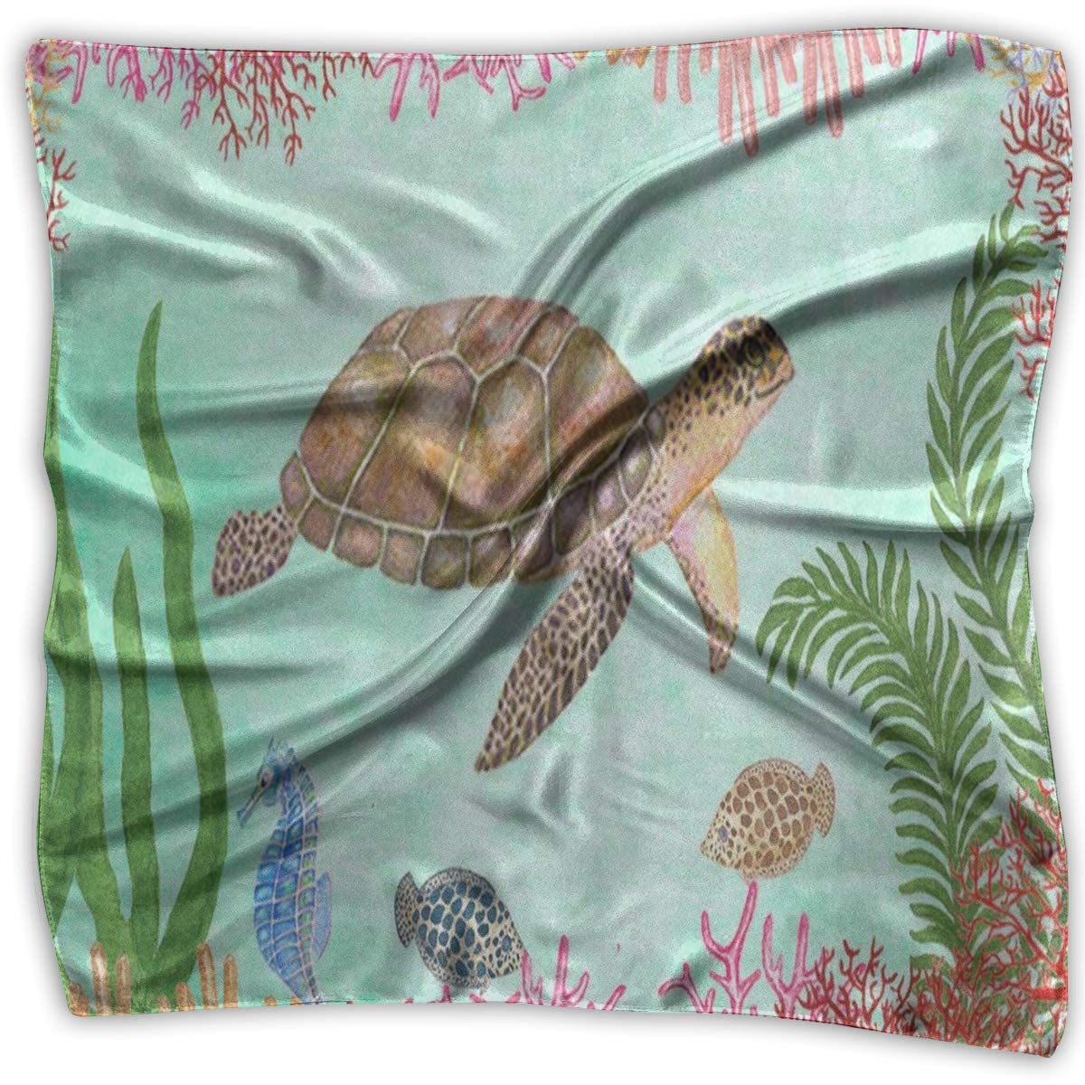 Square Scarf Sea Turtle Underwatter World Coral Reef Watercolor Head /& Neck Unisex Headband Tie For Adults