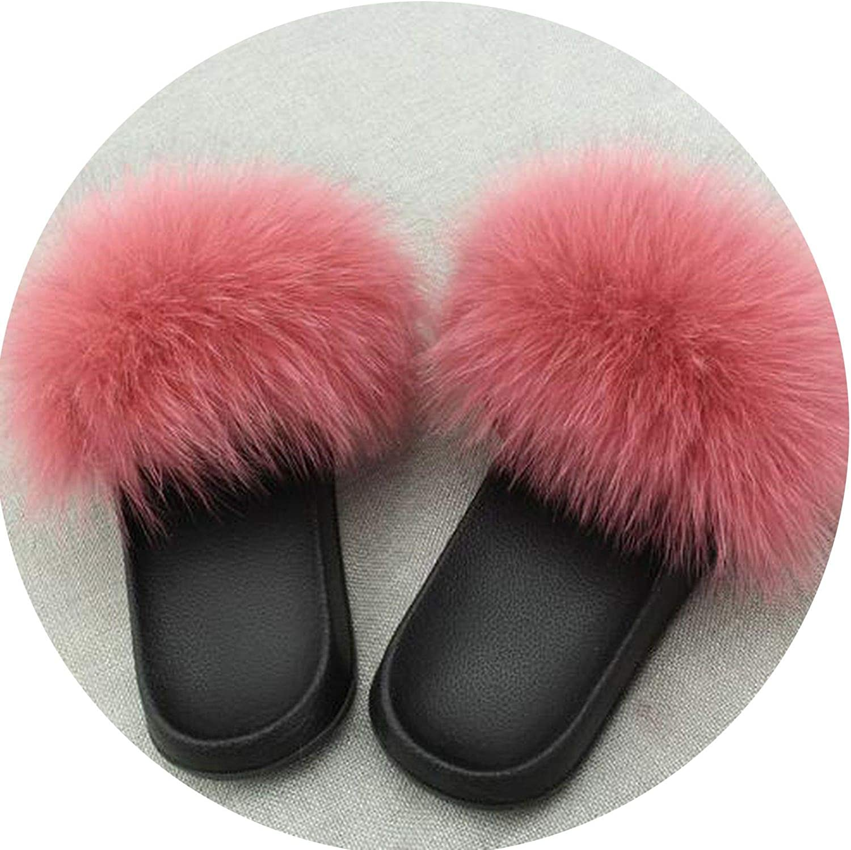 Fox Hair Slippers Women Fur Home Fluffy Sliders Plush Furry Summer Flats Sweet Ladies Shoes Large Size 45 Cute Pantufas,Fox Hair,7.5