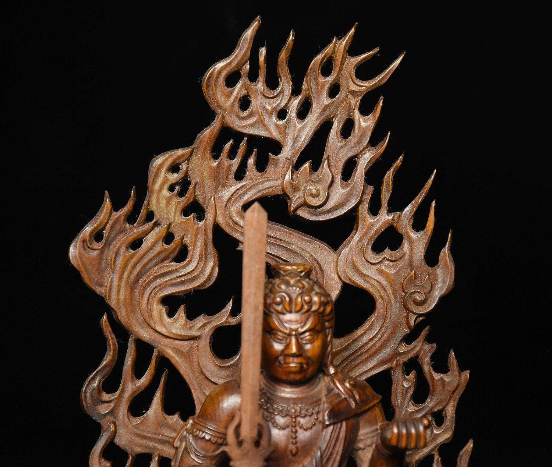 Acalanatha Car Pendant Chinese Box-wood Hand-carved Buddha/'s Head Fudo Myo-o