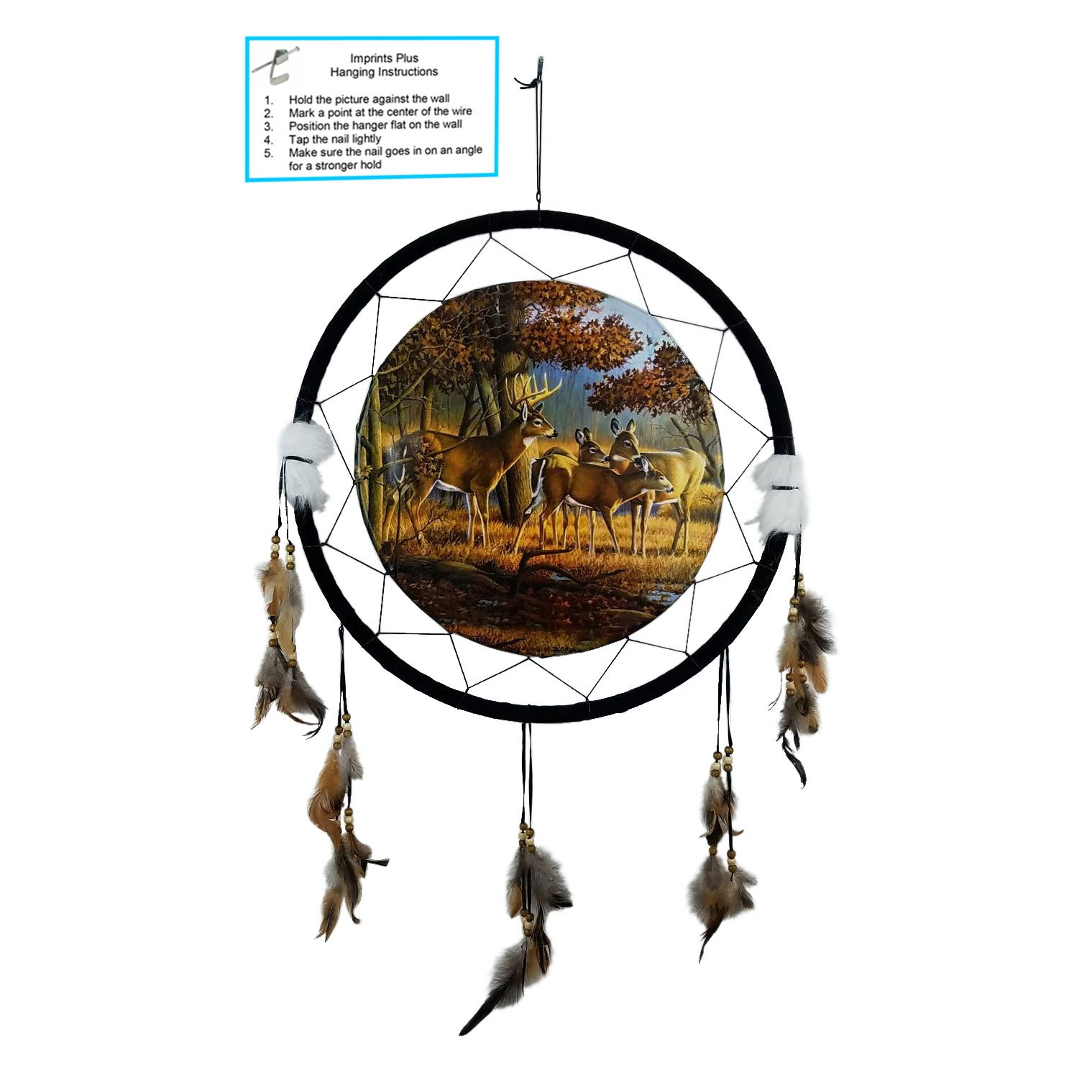 """Imprints Plus DEER BUCK AND DOES Dream Catcher 24"""" x 42"""" Natural Wall Hanging with Beads, Feathers, Hanging Nail and Descriptive Card Bundle by (1055)"""