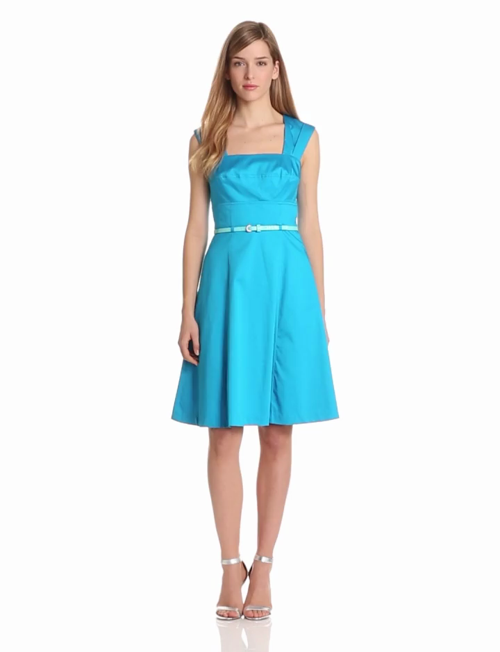 Calvin Klein Womens Square Neck Belted Dress, Cerulean, 8
