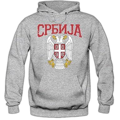 Shirt Happenz Serbien Wappen Hoodie Serbien Republik Serbien Belgrad Herren Kapuzenpullover